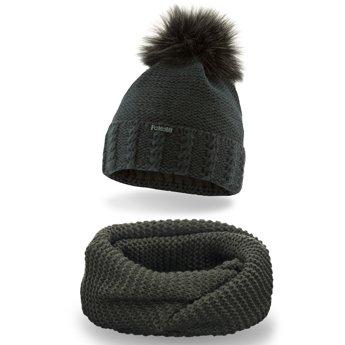 Komplet czapka komin gruby splot khaki