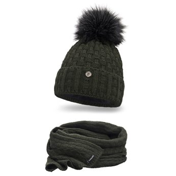 Komplet damski czapka szalik khaki