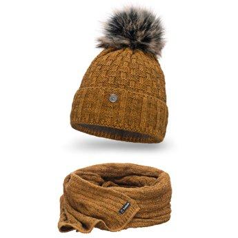 Komplet damski czapka szalik musztarda