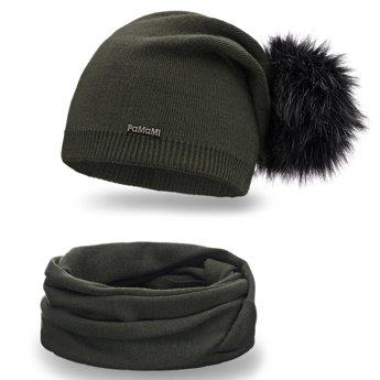 Komplet damski jednolity czapka komin khaki