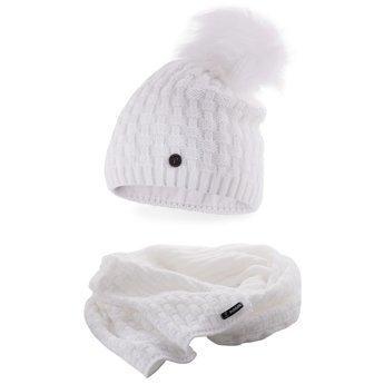 Komplet damski luksus czapka szalik biały