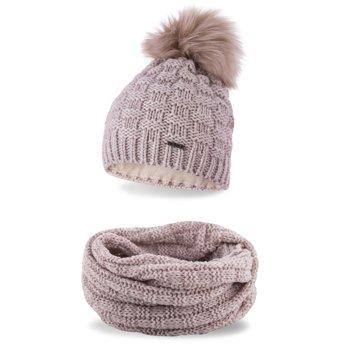 Komplet zimowy damski czapka komin beżowy