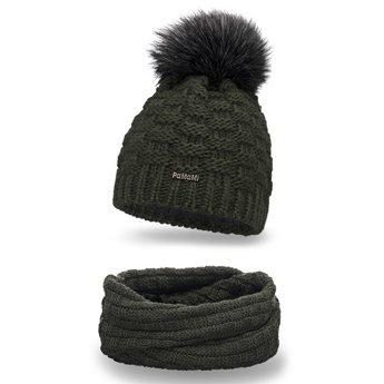 Komplet zimowy damski czapka komin khaki