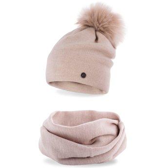 Komplet zimowy damski gładki czapka komin beżowy