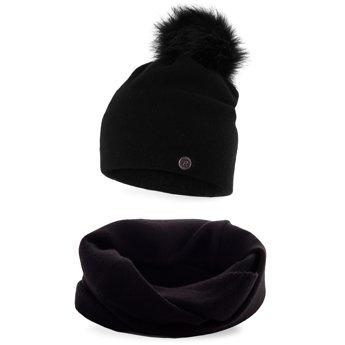 Komplet zimowy damski gładki czapka komin czarny