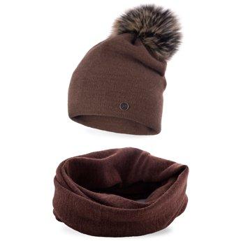 Komplet zimowy damski gładki czapka komin czekoladowy