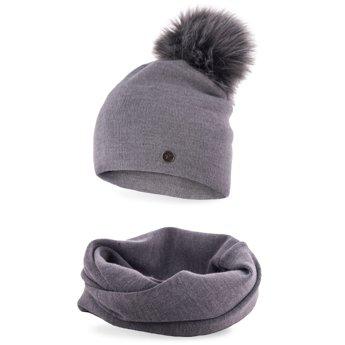 Komplet zimowy damski gładki czapka komin jasnoszary