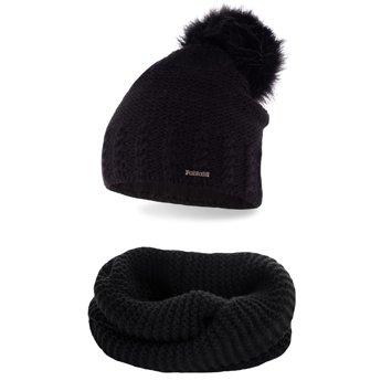 Komplet zimowy pompon czapka komin czarny