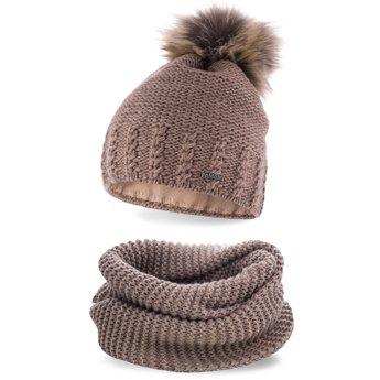 Komplet zimowy pompon czapka komin kakao